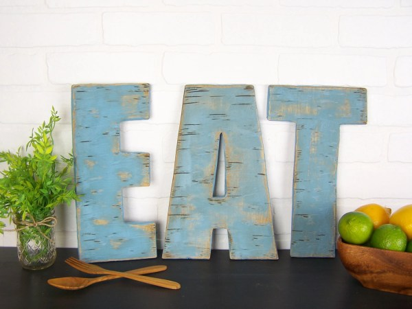 Rustic Eat Sign Wooden Letters Kitchen Farmhouse