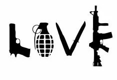 Love Weapons Decal: Military Decals 2nd Amendment Decals