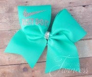 cheer bow aqua cheerleading