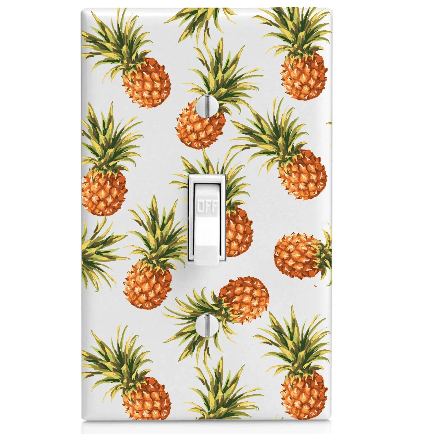 pineapple decorations for kitchen large island sale pattern tropical printed light switch cover