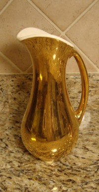 Haeger 22K Burnish Gold Glaze Metallic Bronze Ceramic Pitcher