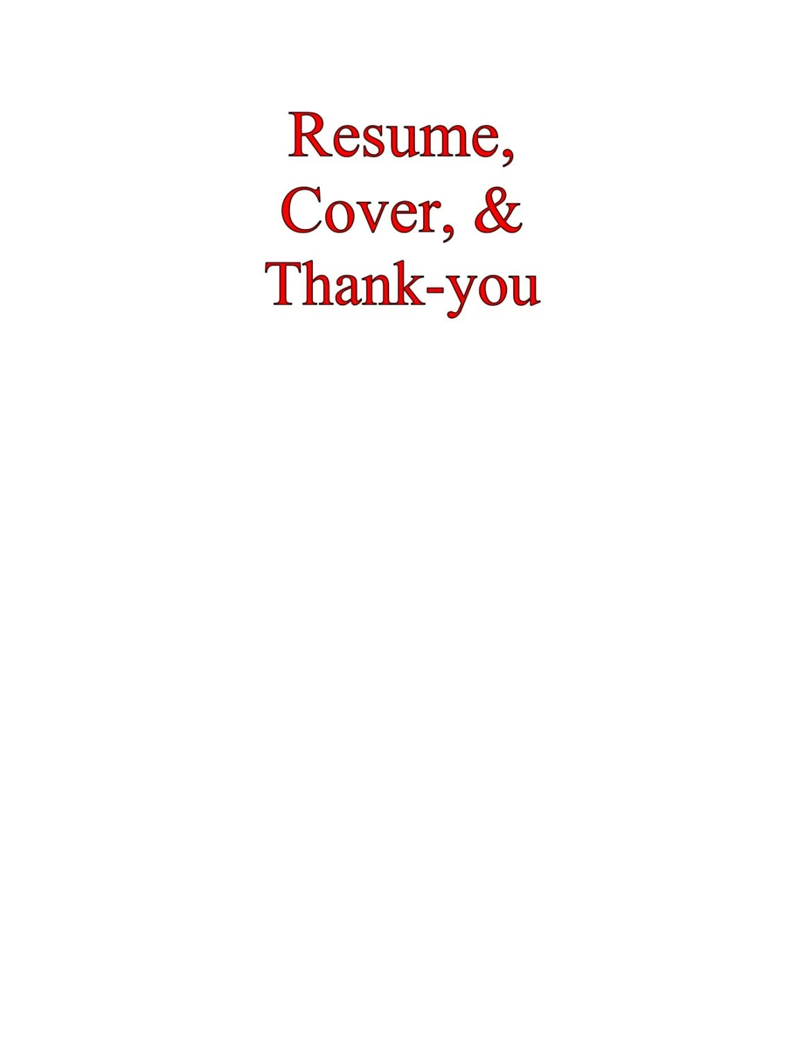 Resume Cover Letter  Thankyou LetterProfessional and