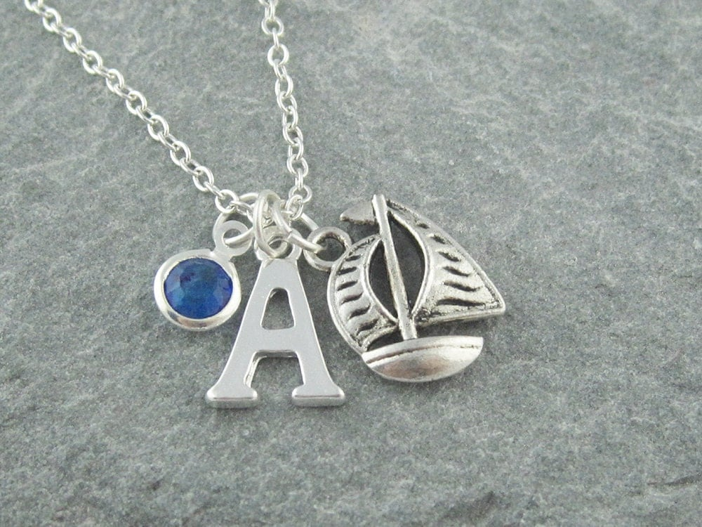 Sail boat necklace silver sailboat pendant initial necklace