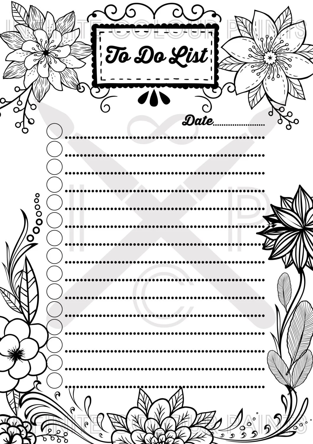 Coloring page To do list Coloring book Printable coloring page