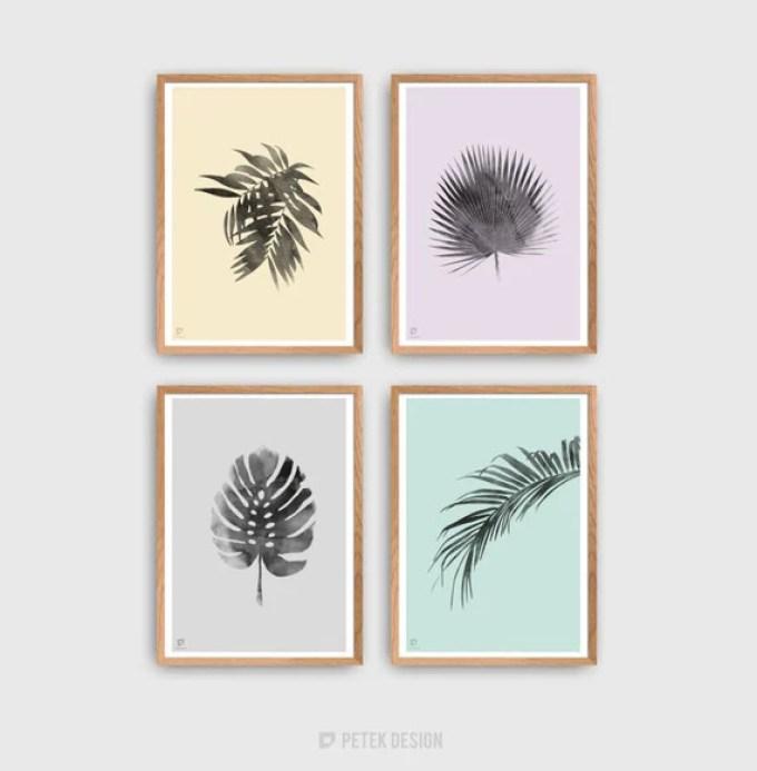 Botanical Print Set | Minimalist Posters | Tropic Wall Decor | Watercolor Plant Prints | Scandinavian Style Home Decor | Gallery Wall Art