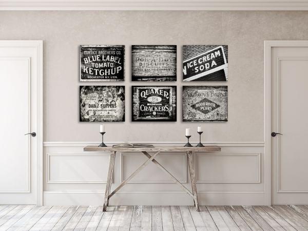 Kitchen Decor Print Canvas Art Rustic Wall