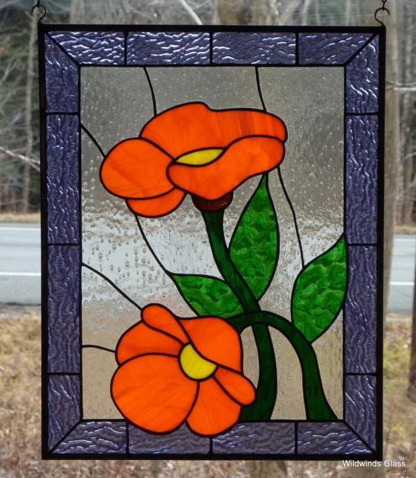 Custom Stained Glass Panel Orange Flower