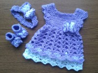 Purple Baby Girl Coming Home Outfit Crochet baby Girl