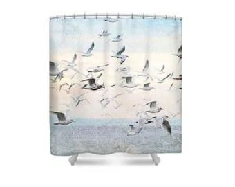 flock of birds shower curtain bird bathroom decor kids bath