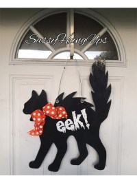 Black Cat Door Hanger Halloween Door Hanger Halloween Door