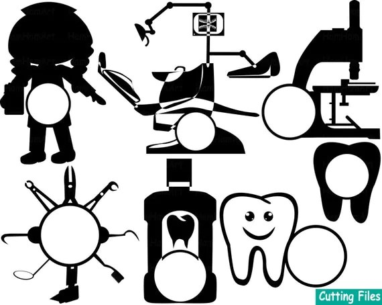 Dentist Cutting Files BLACK Doctor Nurse Lineart Cut SVG