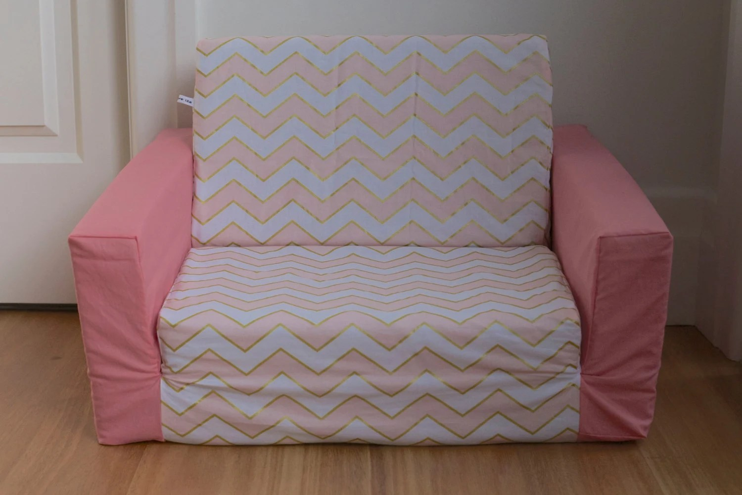 toddler flip sofa cover contemporary italian sectional sale kids out in pink gold and white chevron
