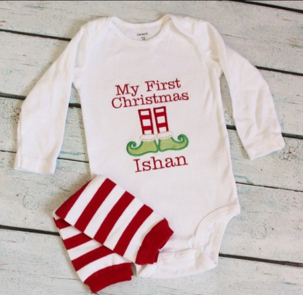My First Christmas Embroidered Onesie Elf Shoes by
