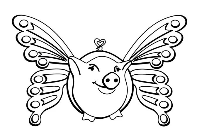 Flying Pig with butterfly wings (Large) cling rubber stamp