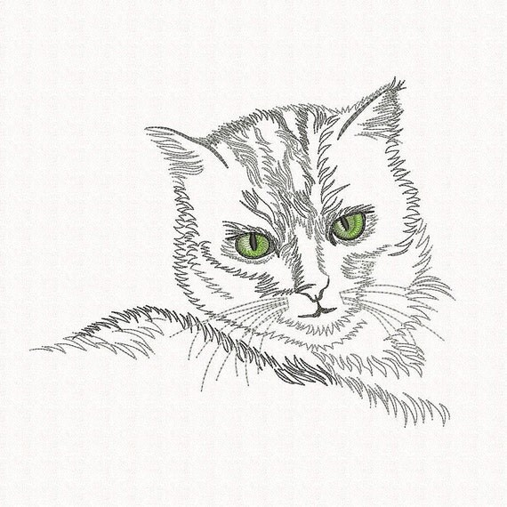 Cat embroidery design Machine embroidery design Outline