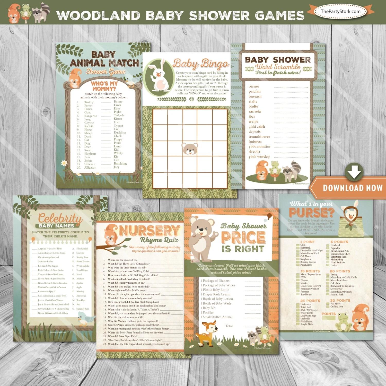 Woodland Baby Shower Games Woodland Baby Shower Baby Bingo