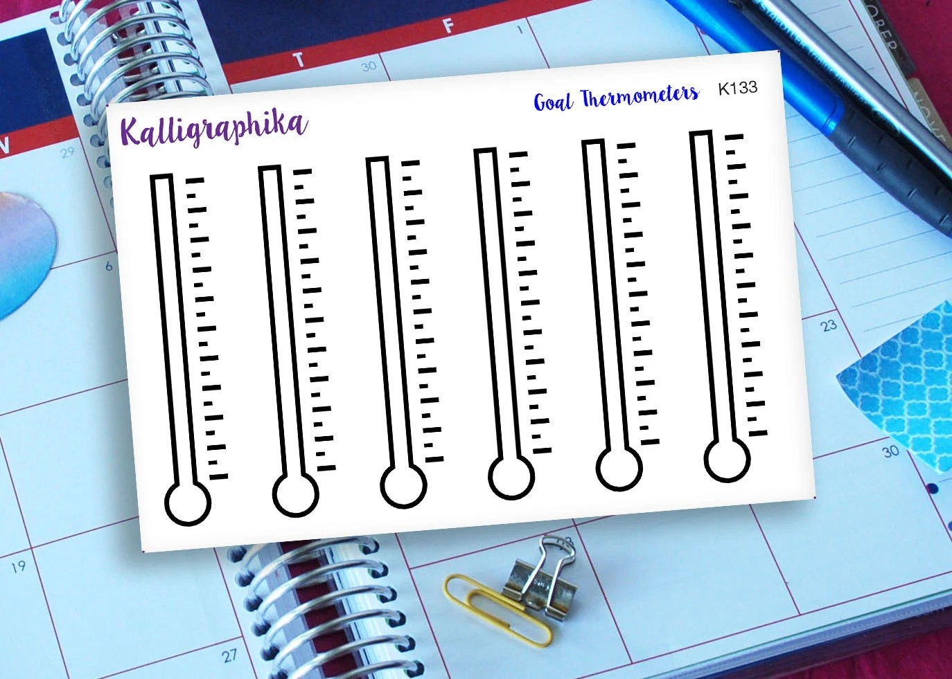 Goal Thermometers Planner Calendar Stickers Functional For Task Reaching Goals Tracking Blank