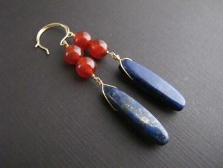 Long Lapis Earrings, 14k Gold Fill Gemstone Earrings, Boho Jewelry