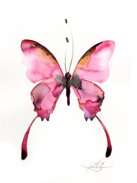Pink Butterfly Watercolor painting Abstract pink Art