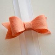 hair bow classic peach felt