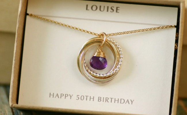 50th Birthday Gift For Her Amethyst Necklace By