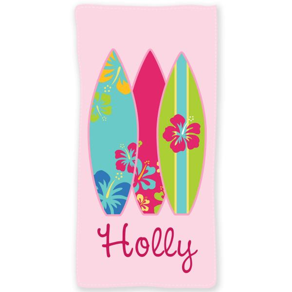 Surfer Girl Personalized Beach Towel 30x60