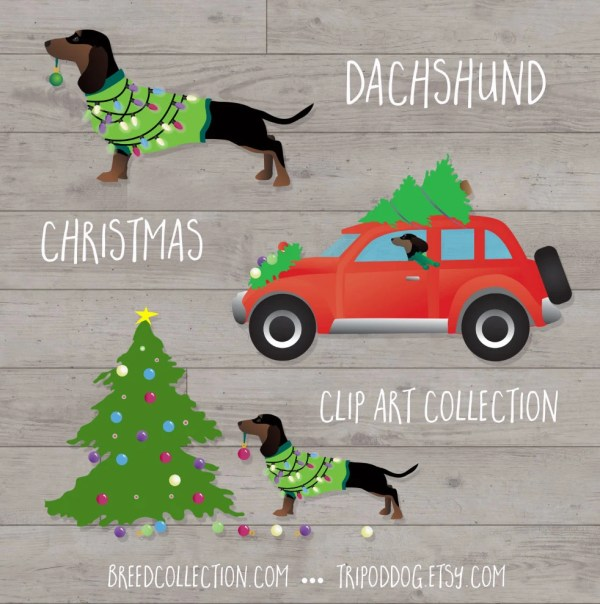 dachshund christmas clip art collection