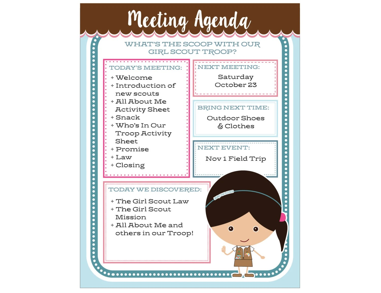 Brownie Girl Scout Meeting Agenda Editable Printable