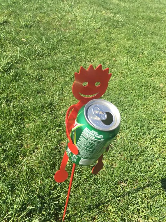 Drink holders for the yard red by SCHROCKMETALFX on Etsy