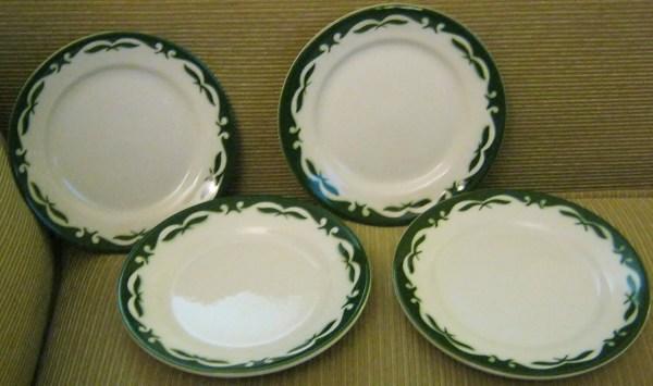Jackson China Diner Dessert Plates Regal Pattern Green Scrolls