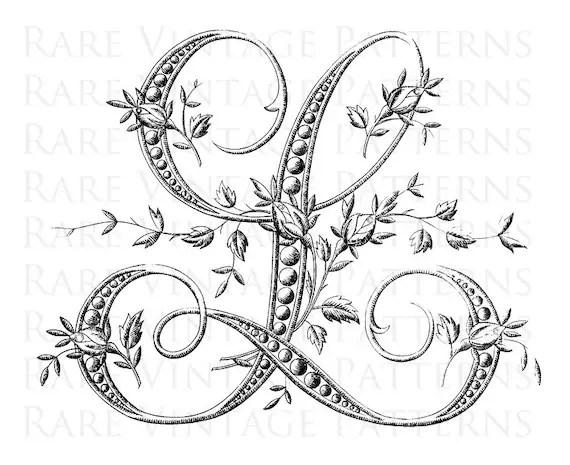 FRENCH ALPHABET STENCIL Large Letter L Monogram Initial