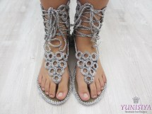 Silver Wedding Sandals Crochet Ring