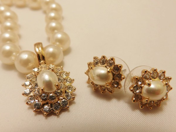 Vintage Faux Pearl Necklace And Earrings Roman Jewelry Set
