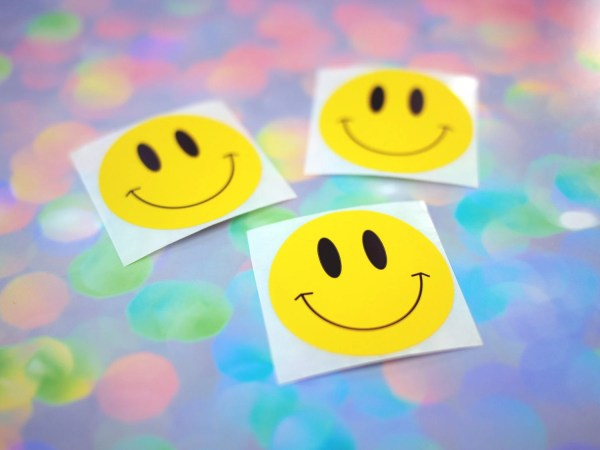 Vintage 90s Smiley Face Stickers Cute Retro Yellow