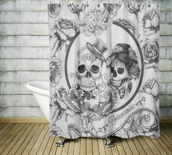 Sugar Skull Shower Curtain Forevermore Black and White