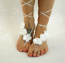 White Floral Barefoot Sandals