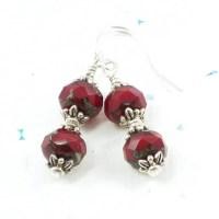 Red Bead Valentine Earrings For Her Red Bead Dangle Earrings