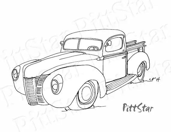 Instant Download Vintage 1940's Ford Pickup Truck