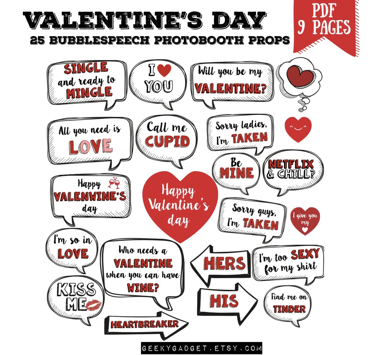 Valentine S Day Party Bubble Speech Photo Booth Props Set