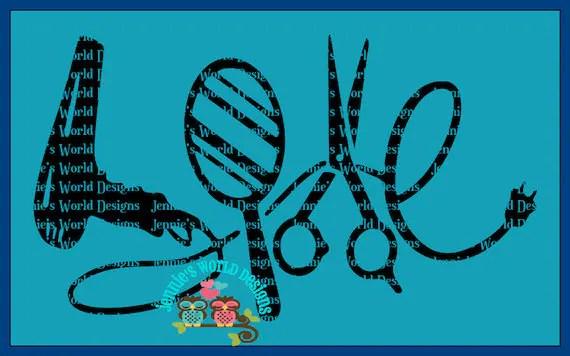 Download Love Hair blow dryer sissors mirror SVG/DXF/PNG Cut File