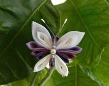 purple white butterfly kanzashi hair clip fabric butterfly tsumami kanzashi beaded hair