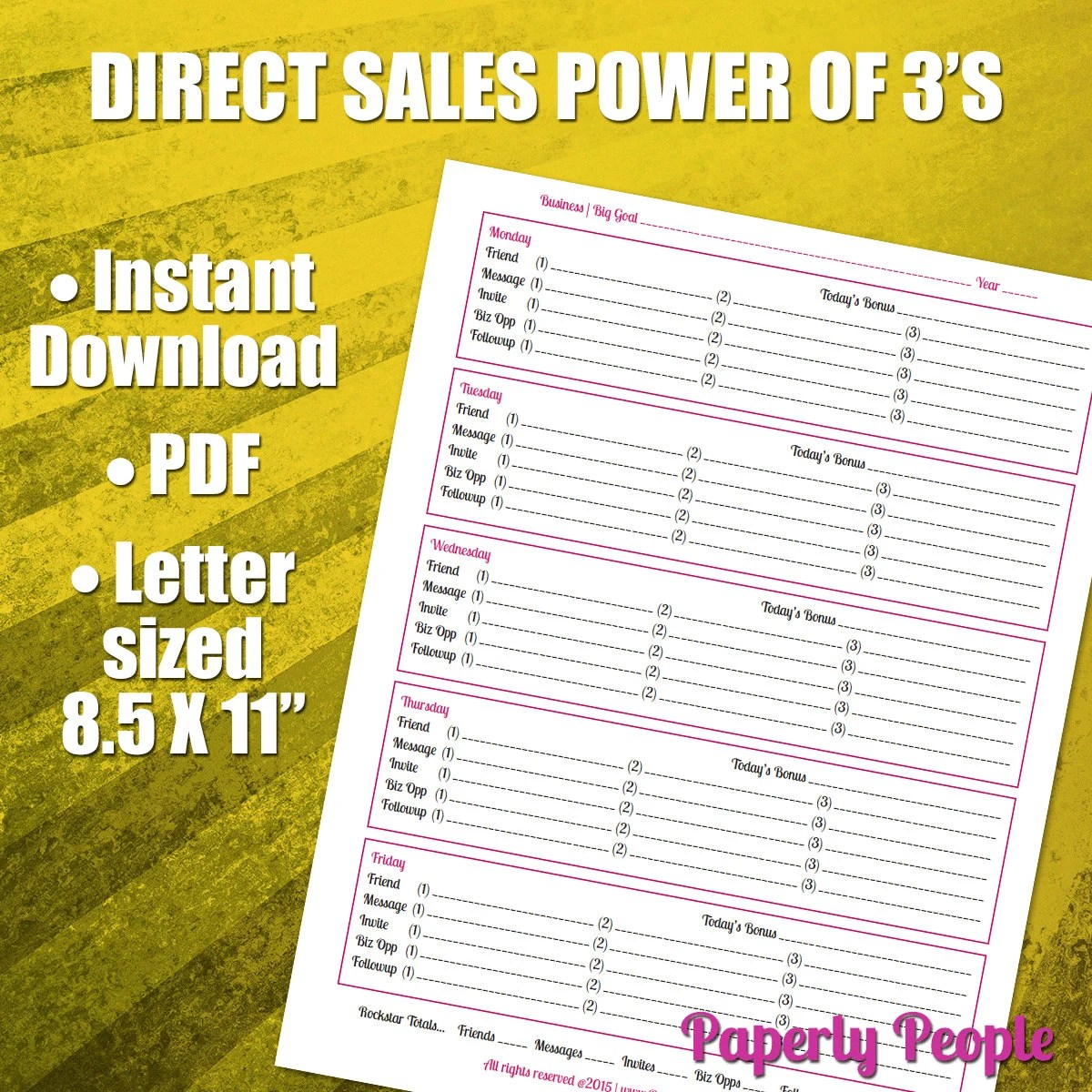 Direct Sales Worksheet The Power Of 3s Network Marketing