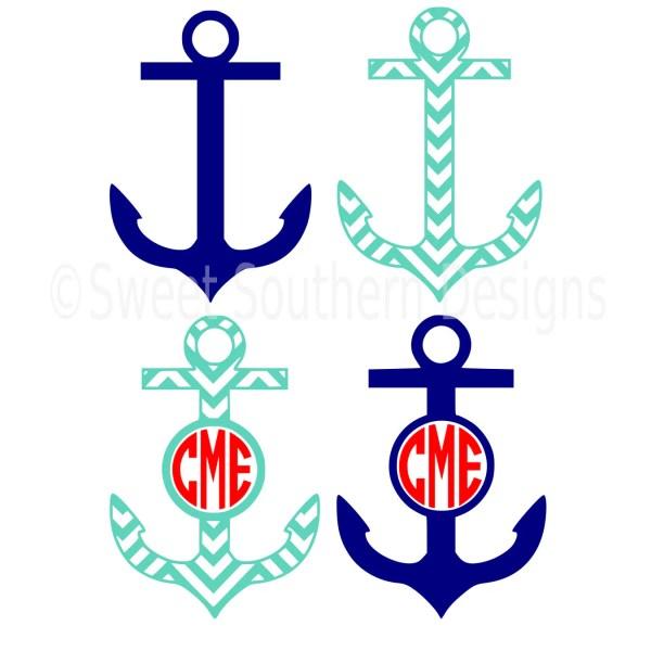 Monogram Split Anchor Chevron Svg Instant Design