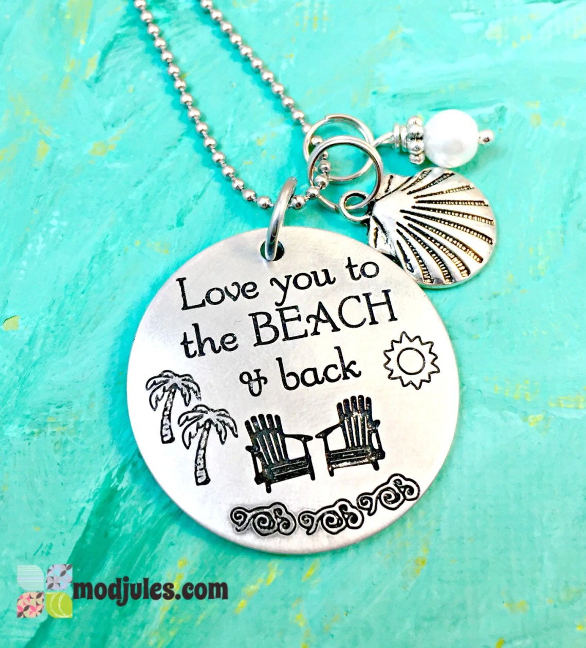 Download Beach Necklace Love you to the Beach & Back Beach Wedding