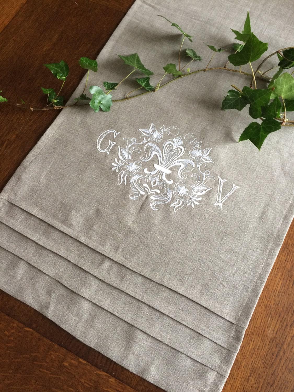 Monogram Table Runner White Custom Embroidery Natural Flax