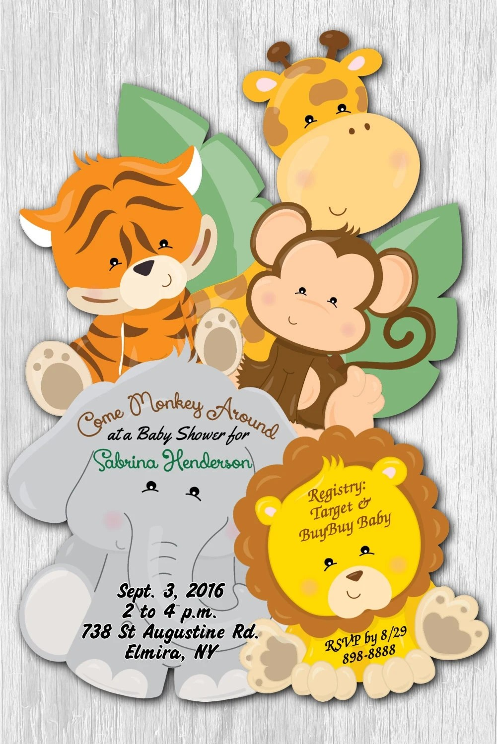 Safari Baby Shower Invitations Jungle Baby Shower Invitation