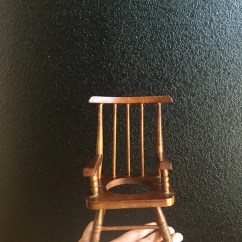 Chair Planter Stand Big Round Sofa Vintage Miniature Wood Rocking Flower Pot