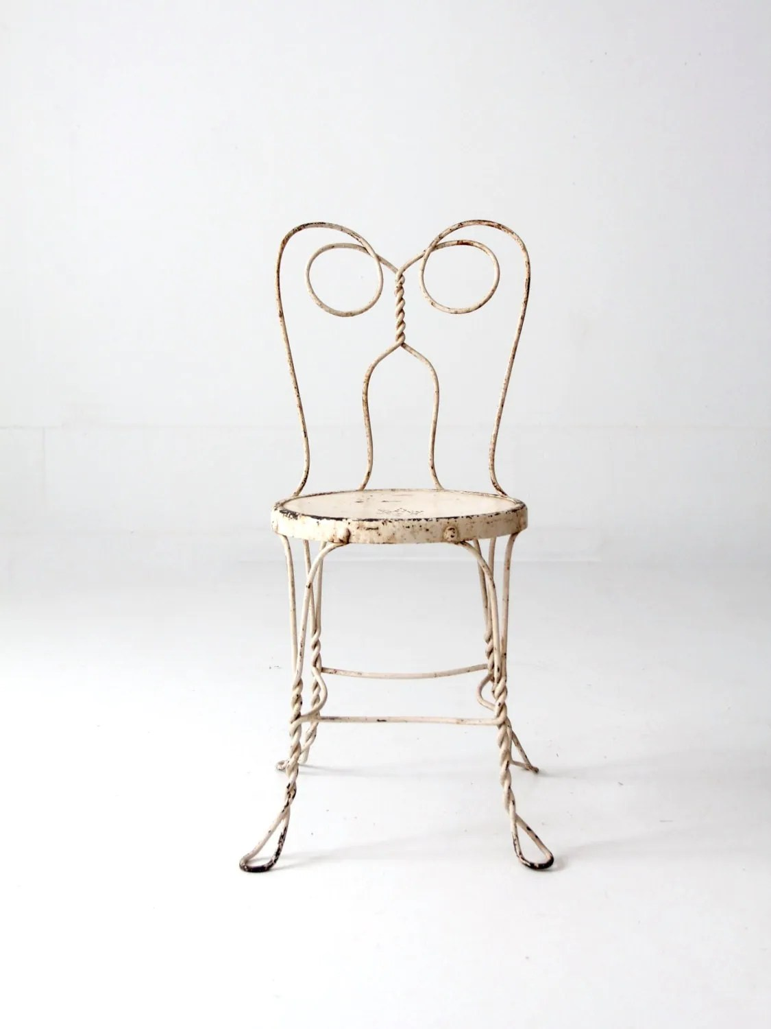 ice cream parlor chairs bamboo side chair vintage white iron cafe metal