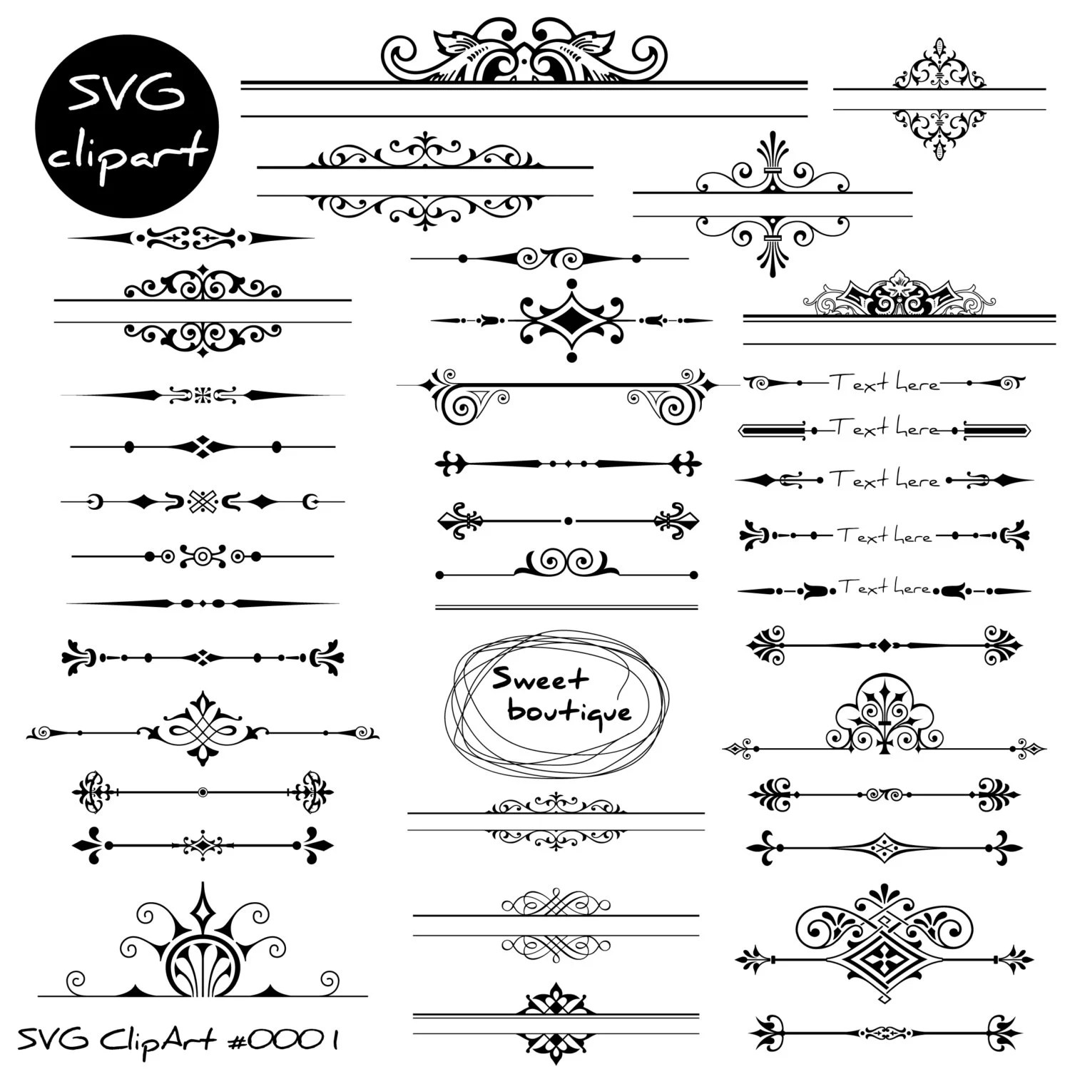 Svg Wedding Dividers Page Decoration Digital Text Dividers