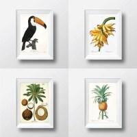 Tropical Decor Tropical Wall Art Print Set of 4 Palm Tree